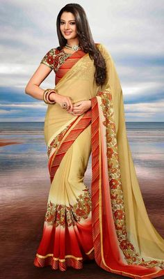 You Are Bound To Make A Effective Style Statement With This Cream Chiffon Saree. The Gorgeous Block Print, Lace, Stones Work A Vital Feature Of This Attire. #SuperbFloralBorderSareeDesign