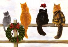 Christmas Cats ¸.•♥•.  www.pinterest.com/WhoLoves/Christmas  ¸.•♥•.¸¸¸ツ #Christmas