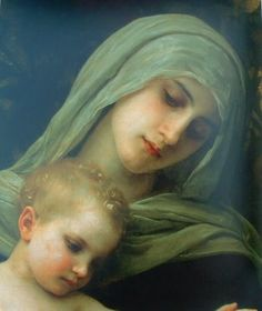 """Madonna, The Infant Jesus and Saint John the Baptist"" (detail), 1881 – William-Adolphe Bouguereau Blessed Mother Mary, Divine Mother, Blessed Virgin Mary, Queen Mother, Religious Pictures, Religious Icons, Religious Art, Religious Paintings, Madonna Art"