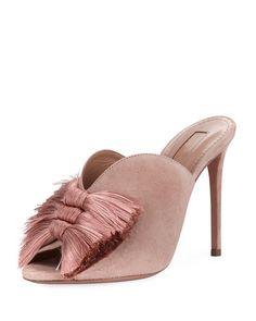 Lotus Blossom Tassel-Trim Mule Sandal by Aquazzura at Bergdorf Goodman. Mule Sandals, Mules Shoes, Women's Shoes Sandals, Shoe Boots, Sexy Sandals, Fashion Sandals, Red Block Heels, Block Heel Shoes, Pretty Shoes