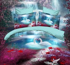Swan lake red blue bedding set queen size quilt duvet cover bed in a bag sheets bedspread bedroom linen bedclothes animal