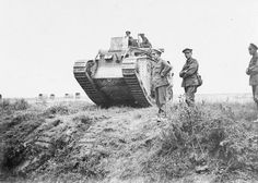 BATTLE AMIENS AUGUST 1918 (Q 65534)   2nd Bn Mark V tank leaving for an attack, La Motte en Santerre, Somme, 8 August 1918.