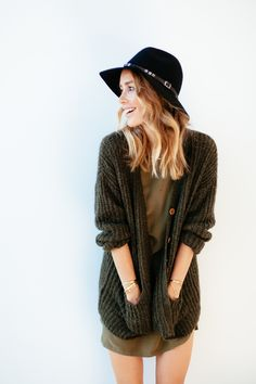 | Cardigan, Dress, Hat & Boots ANINE BING |