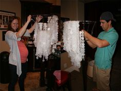 """a little too labour intensive for me to seriously consider doing, but still a really neat idea! homemade """"chandelier"""""""