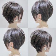 A imagem pode conter: uma ou mais pessoas - Cheveux courts - Ideas For Women's Popular Short Haircuts, Haircuts For Long Hair, Short Bob Hairstyles, Short Hair Cuts, Long Short Hair, Graduated Bob Haircuts, Short Stacked Haircuts, Hair Images, Pixie Haircut