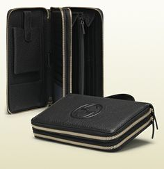 black leather travel document case