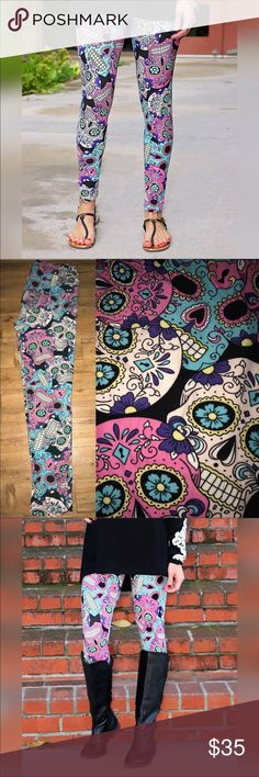 🍬☠️SUGAR SKULL LEGGINGS ARE BACK🍬☠️ The highly sought after, Sugar Skull Leggings are back! Retired Print! Buttery Soft Goodness!! Feel like Lularoe & have elastic waist band like Agnes & Dora. SIZES: OS 0-10. Curvy 12-24. *Tagged 0X to share in plus size parties. Both sizes in both full length & capris. 💦Washing Instructions: Wash inside out in cold water & hang dry to preserve the softness! 💸 PRICE IS FIRM, however I do offer 15% off bundles of 2 or more all day every day! 🎉 🎈 HOST…