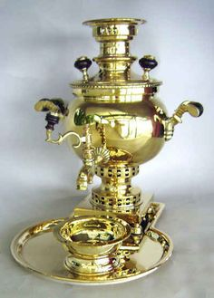 """The """"Samovar,"""" which literally means """"self-boiler,"""" has been used for centuries in parts of Eastern Europe and is traditionally heated with coal or charcoal. Russian Tea, Russian Style, Russian Folk, Kiddush Cup, Tea Culture, Cuppa Tea, Jewish Gifts, Chocolate Coffee, Tea Accessories"""