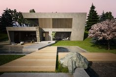 House & garden on a steep terrain on Behance Garage, Home And Garden, Behance, Landscape, Modern, House, Carport Garage, Scenery, Trendy Tree