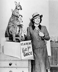 Gracie Allen for President with her running mate- a kangaroo