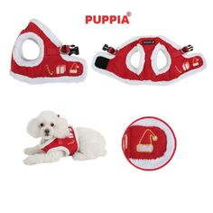 """Puppia """"Santa's Presents"""" Plush Choke-Free Faux Fur Lined Step-in Vest Harness in Color Red"""