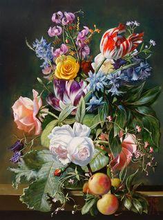 Originals Oils by Gyula Siska Paris Photos, Old Master, Animal Kingdom, Tulips, Originals, Cool Art, Rose, Floral, Artist