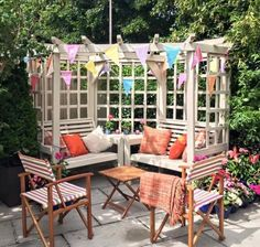 Churnet Valley Clementine Corner 4 Seater Garden Arbor - CFS Furniture UK There are various Wooden Garden Seats, Teak Garden Bench, Wooden Garden Furniture, Garden Seating, Outdoor Furniture Sets, Outdoor Decor, Outdoor Pergola, Outdoor Ideas, Garden Arbour Seat