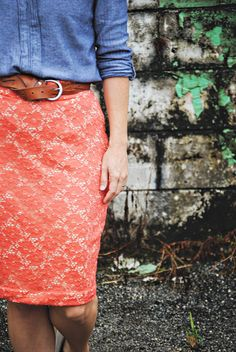 Indiesew.com | Lace Pencil Skirt, Pleated Pencil Skirt Sewing Pattern by Delia Creates, Creation by Teresa  :: Dandelion Drift