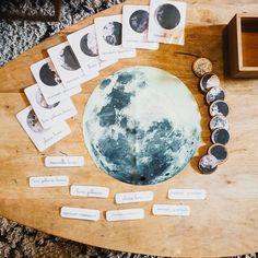 Phases de la lune -printable gratuit- cartes de nomenclature Montessori