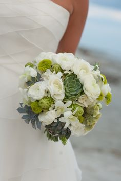 Green and White Brides Bouquet