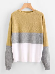 Shop Color Block Textured Jumper online. SheIn offers Color Block Textured Jumper & more to fit your fashionable needs.