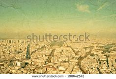 Paris aerial view from Montparnasse tower. Grunge style photo.  - stock photo
