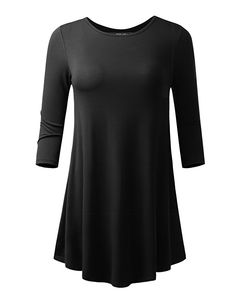 ALL FOR YOU Women's 3/4 Sleeve Round Neck Flare Hem Tunic Black XXX-Large