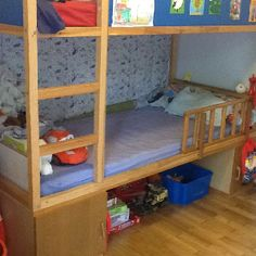 i think this is more my match, in terms of complexity. My IKEA hack-placed the classic children's bunk bed on two big and long cupboards and...voila!a toy storage OR a kids hiding place underneath!!!