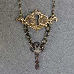 Brass Keyhole and Key Steampunk Necklace by oscarcrow on Etsy, $25.00