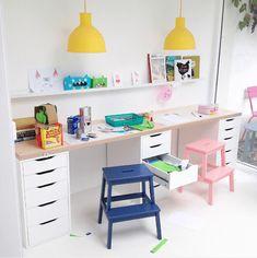 Ikea kids desk hack with cute pastel colors More Ikea Kids Desk, Kids Workspace, Kid Desk, Homework Desk, Ikea Kids Room, Study Desk Ikea, Ikea Childrens Desk, Ikea Hack Desk, Kids Homework Station