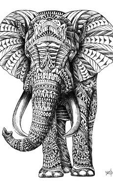 Art by Ben Kwok. Hand drawn elephant ornately decorated with gel pen, ball point pen, graphite and micron pens.