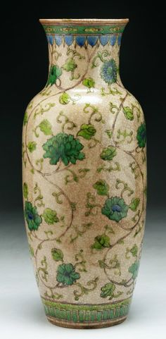 A Chinese Antique Famille Rose Porcelain Vase drilled on the base, of late Qing Dynasty; Size: H: 11""