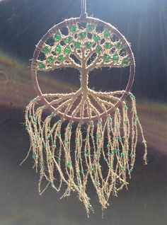 Wall Hanging / Macrame Tree of Life / Dream Catcher / Birthday Gift / Woven with Natural Hemp & Custom Glass Beads on 8 Inch Hoop Macrame Wall Hanging Macrame Tapestry Tree of Life WallMacrame Wall Hanging Macrame Tapestry Tree of Life Wall Tree Tapestry, Tapestry Wall Hanging, Wiccan Decor, Bodhi Tree, Camping Crafts, Learn To Crochet, Tree Of Life, Customized Gifts, Glass Beads
