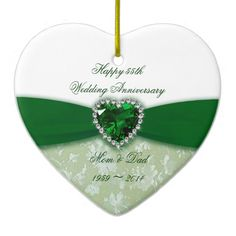 Damask 55th Wedding Anniversary Ornament Emerald Decor Fabric