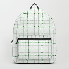 "back to school graph paper back pack from society 6 - Our Backpacks are crafted with spun poly fabric for durability and high print quality. Thoughtful details include double zipper enclosures, padded nylon back and bottom, interior laptop pocket (fits up to 15""), adjustable shoulder straps and front pocket for accessories. Dry clean or spot clean only. One unisex size: 17.75""(H) x 12.25""(W) x 5.75""(D)."