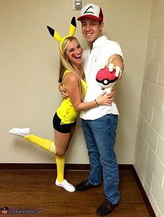 Which Halloween couple costume you are planning to wear? Look for these 33 funny and creepy Halloween couple costumes ideas. Best Halloween couples costumes to try this year. Costumes Pokemon, Pikachu Halloween Costume, Halloween Costume Contest, Pikachu And Ash Costume, Unique Couple Halloween Costumes, Cute Costumes, Halloween Outfits, Halloween Fun, Halloween Costume Ideas For Couples