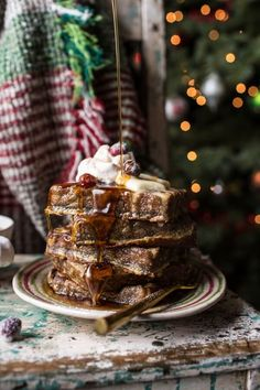 Baked Gingerbread Custard Waffle French Toast | halfbakedharvest.com @hbharvest