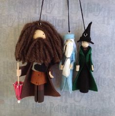 ||| Harry Potter, Hagrid, Albus Dumbledore, Professor Minerva McGonagall, Hogwarts, wizard, witch, toothpick, clothespin, clothespeg, bendy, chenille stem, pipe cleaner, felt, doll, dollhouse