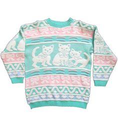 Vintage Pastel Cat Sweater- Fairy Kei, Sparkle, Glitter, Kawaii, Soft Grunge, Pastel Goth, 80s, 90s, bows, hearts, plus size friendly