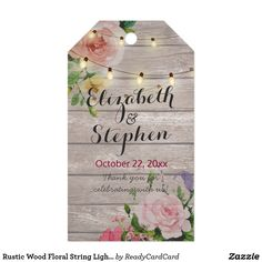 Rustic Wood Floral String Lights Wedding Thank You Gift Tags Wedding Thank You Gift Tags Templates - Vintage Watercolor Floral and Elegant String Lights on Rustic Wood Texture Background. A Perfect Design for your Big Day. All text style, colors, sizes can be modified to fit your needs.