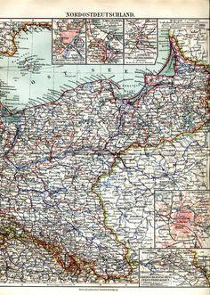 ca 1890 NORTHERN GERMANY PRUSSIA POLAND STETTIN DANZIG KONIGSBERG Antique Map | eBay