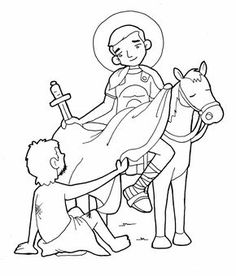 Saint Martin Catholic Coloring Page Feast day is November 11 Flag Coloring Pages, Flower Coloring Pages, Coloring Pages For Kids, Coloring Books, Hl Martin, St Martin Of Tours, St Therese Of Lisieux, Catholic Crafts, All Saints Day