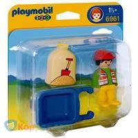 PLAYMOBIL 6961 1.2.3 Arbeider met kruiwagen - Koppen.com