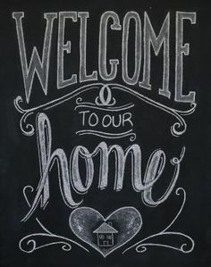 Chalkboard Welcome Print Welcome Sign Welcome by Sugarbirdprints, $23.00. Chalkboard Art. Chalk Art. Hand Lettering. Typography. by EdithF