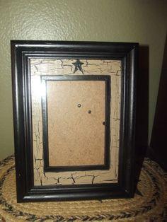 Primitive Crackle Wood Frame w/ Matte Holds 3x5~ Black Stars ~ Country Decor #NaivePrimitive