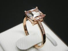 Engagement Ring 2.3 Carat Morganite Ring With by stevejewelry