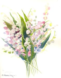 Lilies of the Valley Original watercolor painting by ORIGINALONLY