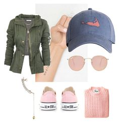 """Pink perfect. Ear cuff, sweater weather, cap adidas, converse sneakers, glasses, tattoo whatever, military jacket, grey crop top"" by explorer-14288293474 on Polyvore featuring Topshop, Vinca, Carven, Accessorize, Ray-Ban and Converse"