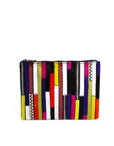Super-cute patchwork.    - ASOS | ASOS Leather Zip Top Clutch Bag With Patchwork Faux Pony at ASOS