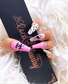 Bling Acrylic Nails, Summer Acrylic Nails, Best Acrylic Nails, Gel Nails, Coffin Nails, Burberry Nails, Gucci Nails, Chanel Nails Design, Checkered Nails