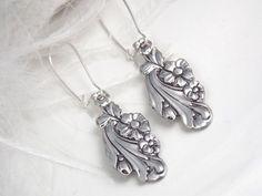 Spoon Jewelry EARRINGS, Vintage Spoon Earrings, Hand Carved Silverware Jewelry, Bridesmaids Gift, Bridesmaids Earrings - 1950 Evening Star by mariana
