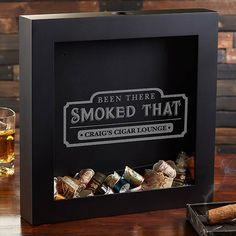 """Buy personalized cigar label shadow box for collecting and displaying cigar bands. Add any 1 line of text to be custom engraved below the quote """"Been There Smoked That."""" Perfect gift for cigar smokers! Bday Gifts For Him, Surprise Gifts For Him, Thoughtful Gifts For Him, Romantic Gifts For Him, Gifts For Husband, Romantic Dates, Cigars And Whiskey, Whisky, Zigarren Lounges"""