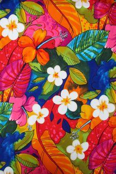 Fabric, Bebel in Multi Brights, Tropical Hibiscus Hawaiian Fabric, Alexander Henry, Last 32 Inches Art Tropical, Tropical Fabric, Tropical Flowers, Hawaiian Flowers, Cactus Flower, Exotic Flowers, Purple Flowers, Hawaiian Background, Hibiscus
