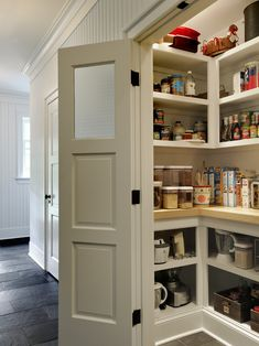 Gorgeous Pantry Shelving Designs: Hall Pantry Shelving Designs With Hall Wainscoat And Swing Wood Door With Frosted Glass Decor ~ vaiglobal.com Decorating Inspiration